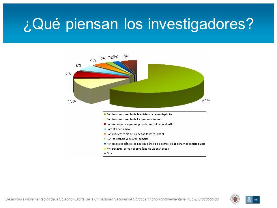Desarrollo e implementación de la Colección Digital de la Universidad Nacional de Córdoba: Acción complementaria AECID C/020555/08 ¿Qué piensan los investigadores
