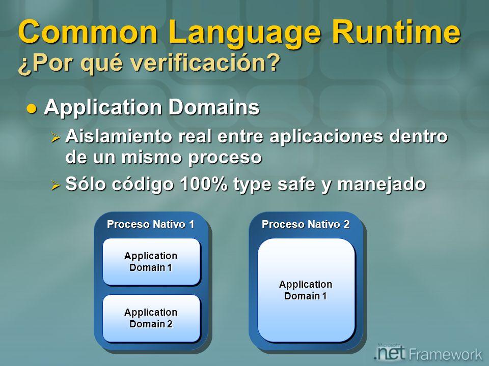 Common Language Runtime ¿Por qué verificación? Application Domains Application Domains Aislamiento real entre aplicaciones dentro de un mismo proceso