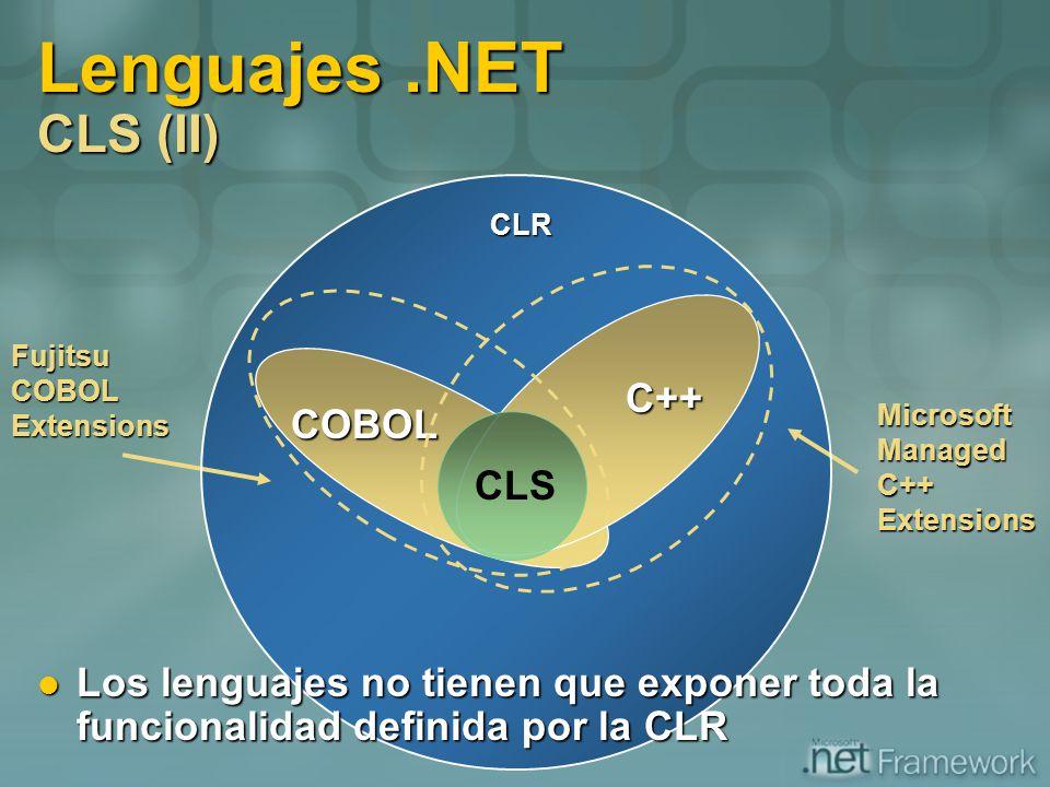 Lenguajes.NET CLS (II) COBOL C++ C++ CLR Microsoft Managed C++ Extensions Fujitsu COBOL Extensions CLS Los lenguajes no tienen que exponer toda la fun