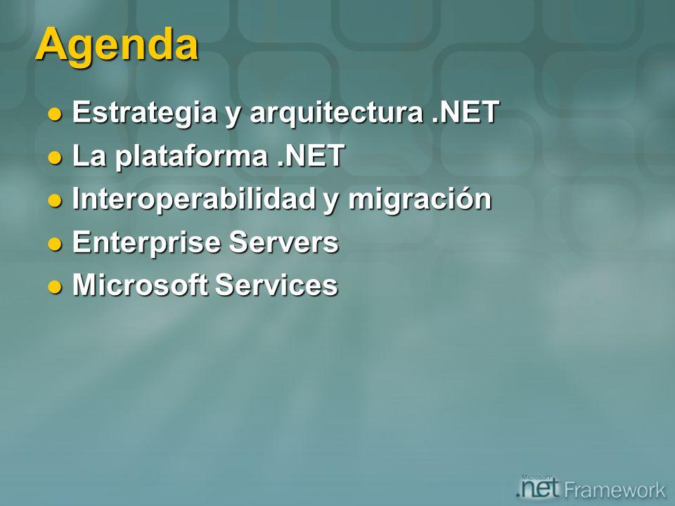 Agenda Estrategia y arquitectura.NET Estrategia y arquitectura.NET La plataforma.NET La plataforma.NET Interoperabilidad y migración Interoperabilidad