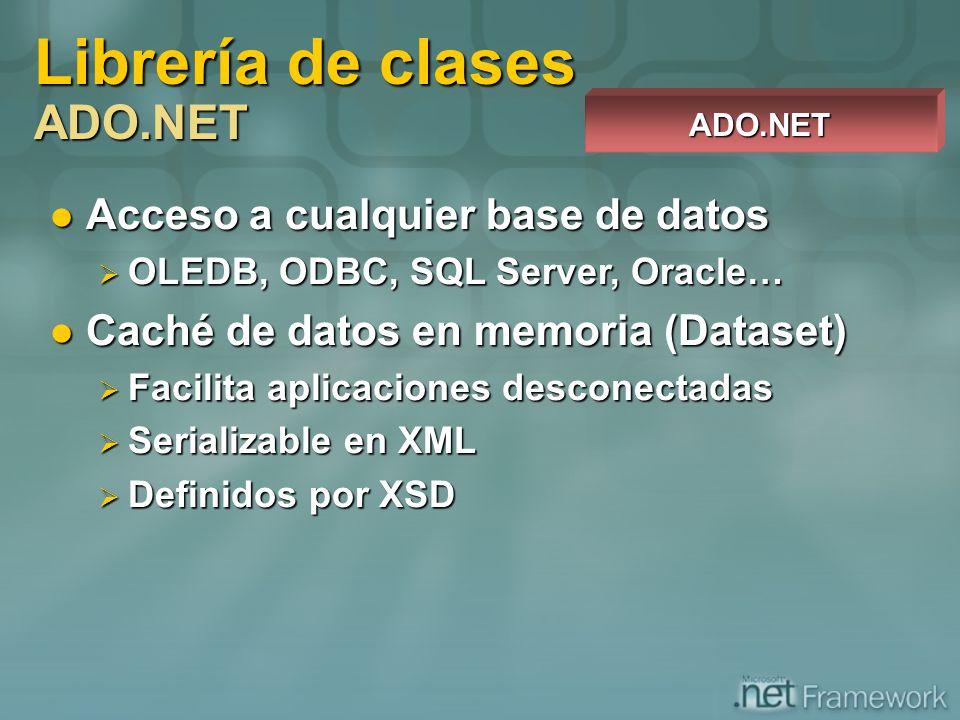 Acceso a cualquier base de datos Acceso a cualquier base de datos OLEDB, ODBC, SQL Server, Oracle… OLEDB, ODBC, SQL Server, Oracle… Caché de datos en