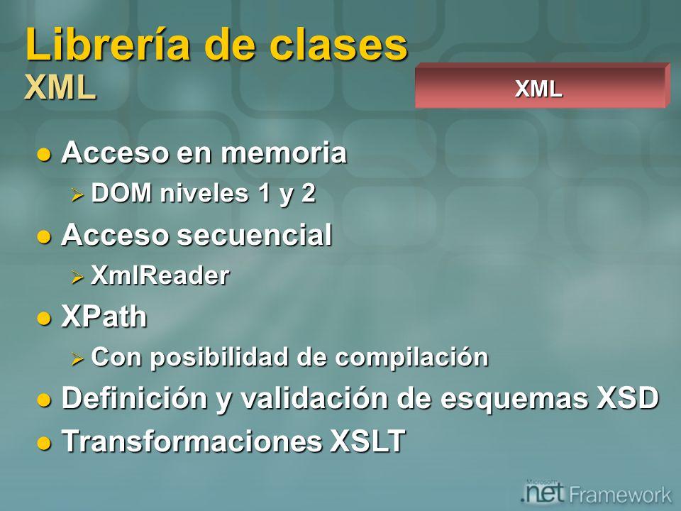 Acceso en memoria Acceso en memoria DOM niveles 1 y 2 DOM niveles 1 y 2 Acceso secuencial Acceso secuencial XmlReader XmlReader XPath XPath Con posibi