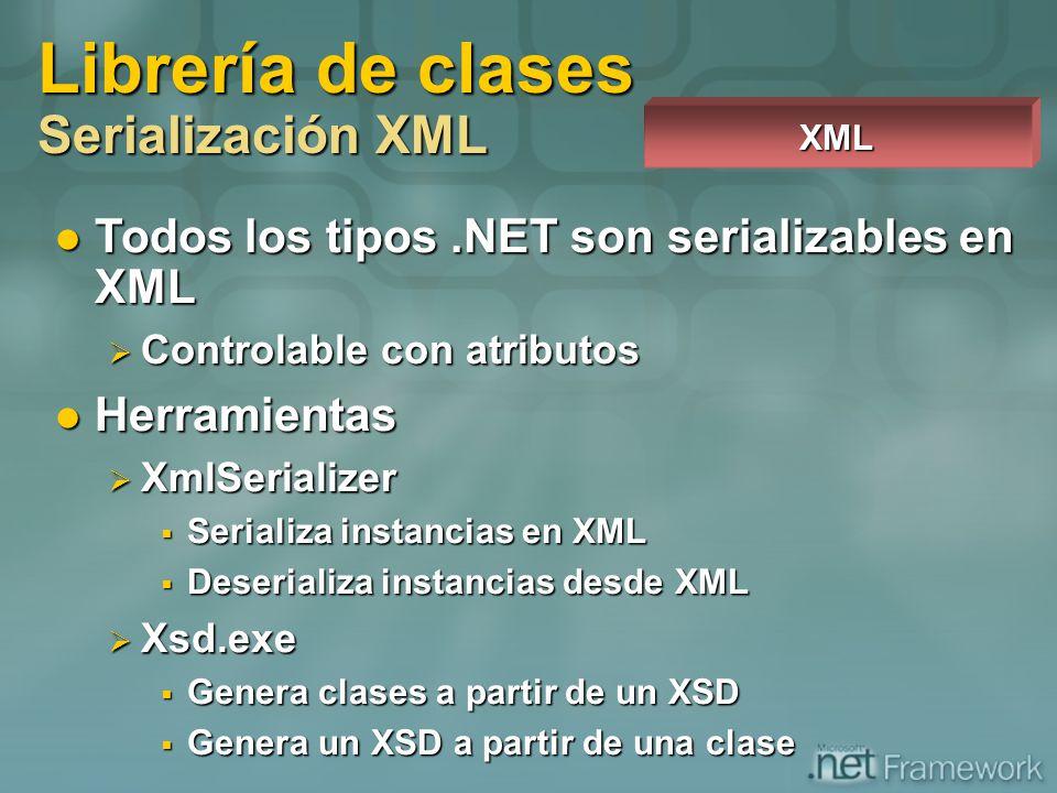 Todos los tipos.NET son serializables en XML Todos los tipos.NET son serializables en XML Controlable con atributos Controlable con atributos Herramie