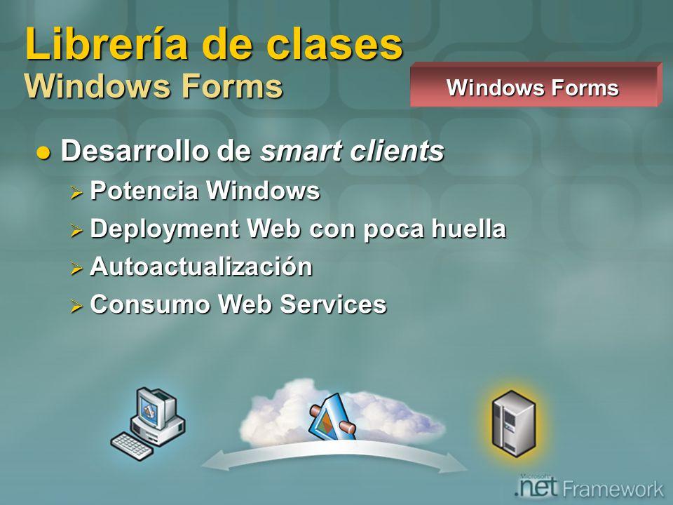 Desarrollo de smart clients Desarrollo de smart clients Potencia Windows Potencia Windows Deployment Web con poca huella Deployment Web con poca huell