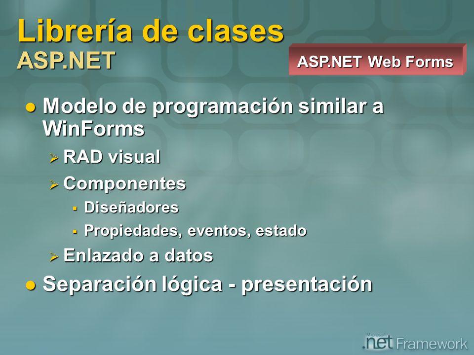 Modelo de programación similar a WinForms Modelo de programación similar a WinForms RAD visual RAD visual Componentes Componentes Diseñadores Diseñado