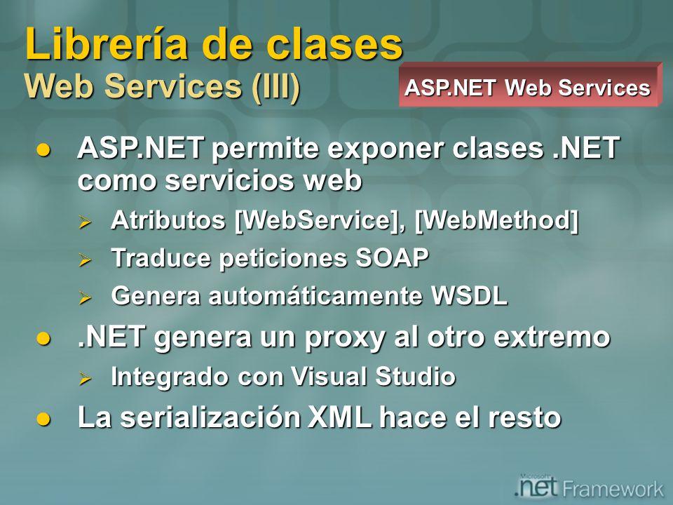 Librería de clases Web Services (III) ASP.NET Web Services ASP.NET permite exponer clases.NET como servicios web ASP.NET permite exponer clases.NET co