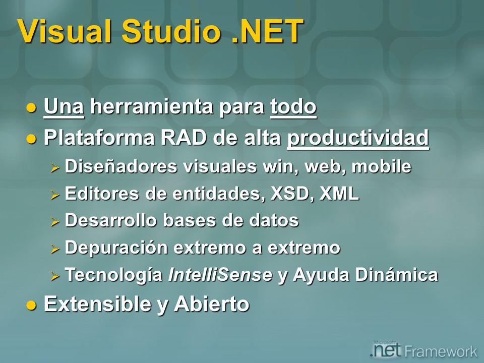 Visual Studio.NET Una herramienta para todo Una herramienta para todo Plataforma RAD de alta productividad Plataforma RAD de alta productividad Diseña