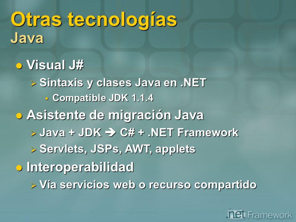 Otras tecnologías Java Visual J# Visual J# Sintaxis y clases Java en.NET Sintaxis y clases Java en.NET Compatible JDK 1.1.4 Compatible JDK 1.1.4 Asist