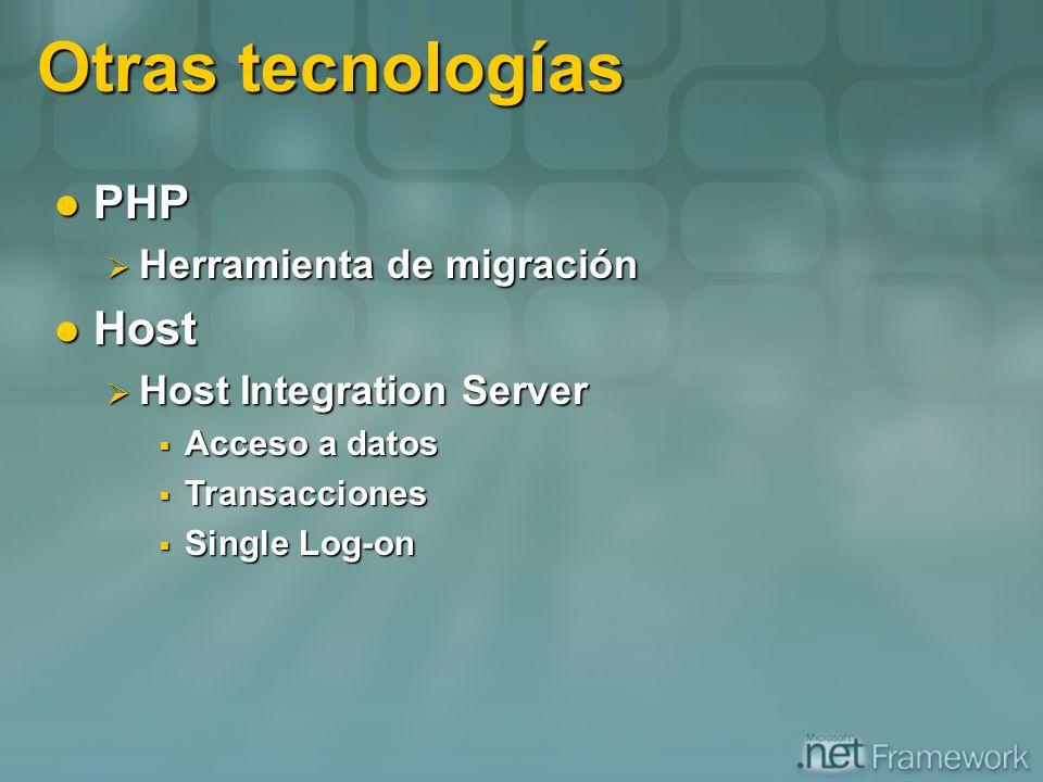 Otras tecnologías PHP PHP Herramienta de migración Herramienta de migración Host Host Host Integration Server Host Integration Server Acceso a datos A