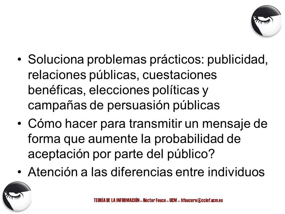 TEORÍA DE LA INFORMACIÓN – Héctor Fouce – UCM – hfoucero@ccinf.ucm.es Soluciona problemas prácticos: publicidad, relaciones públicas, cuestaciones ben