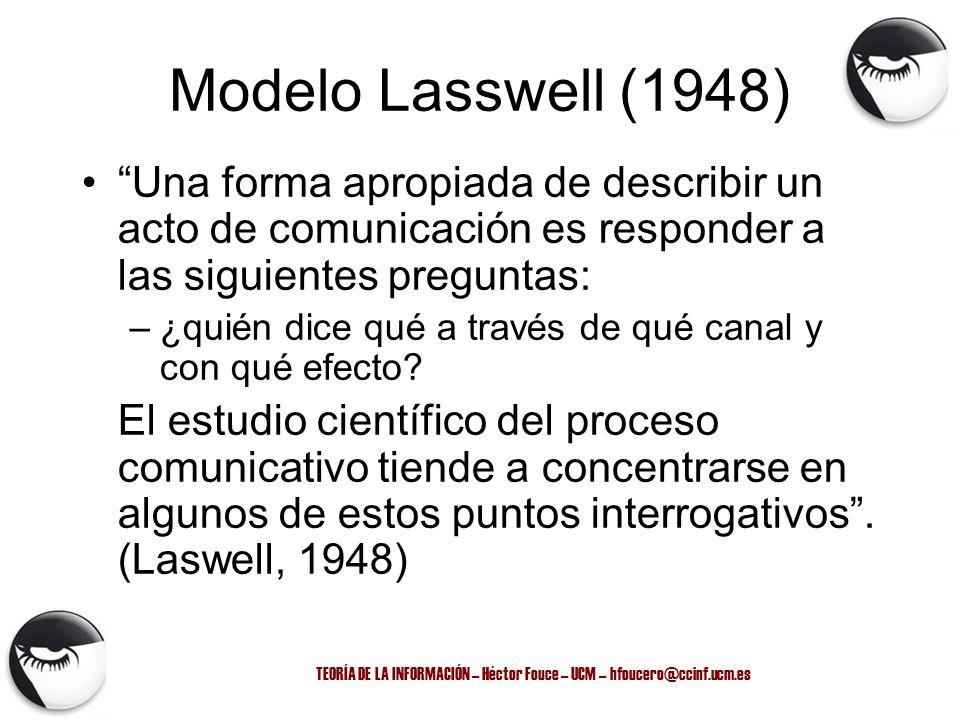 TEORÍA DE LA INFORMACIÓN – Héctor Fouce – UCM – hfoucero@ccinf.ucm.es Modelo Lasswell (1948) Una forma apropiada de describir un acto de comunicación