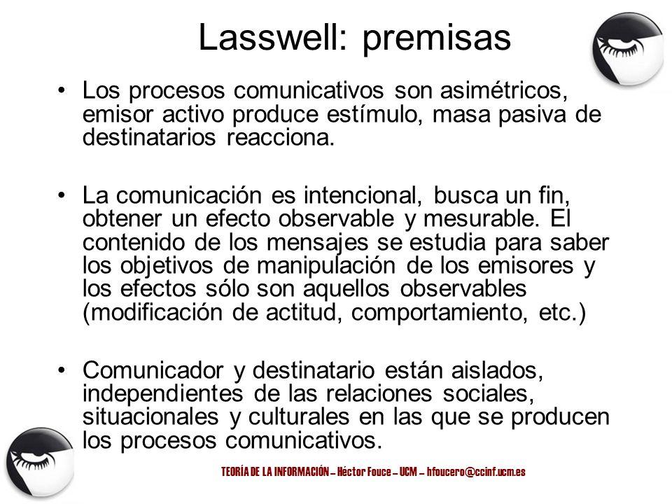 TEORÍA DE LA INFORMACIÓN – Héctor Fouce – UCM – hfoucero@ccinf.ucm.es Lasswell: premisas Los procesos comunicativos son asimétricos, emisor activo pro