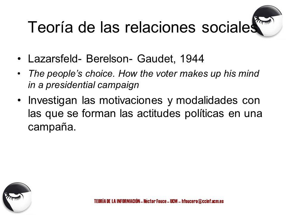 TEORÍA DE LA INFORMACIÓN – Héctor Fouce – UCM – hfoucero@ccinf.ucm.es Teoría de las relaciones sociales Lazarsfeld- Berelson- Gaudet, 1944 The peoples