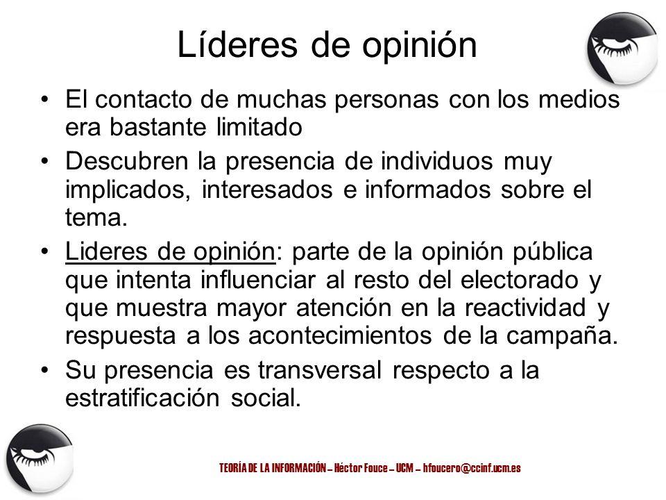 TEORÍA DE LA INFORMACIÓN – Héctor Fouce – UCM – hfoucero@ccinf.ucm.es Líderes de opinión El contacto de muchas personas con los medios era bastante li