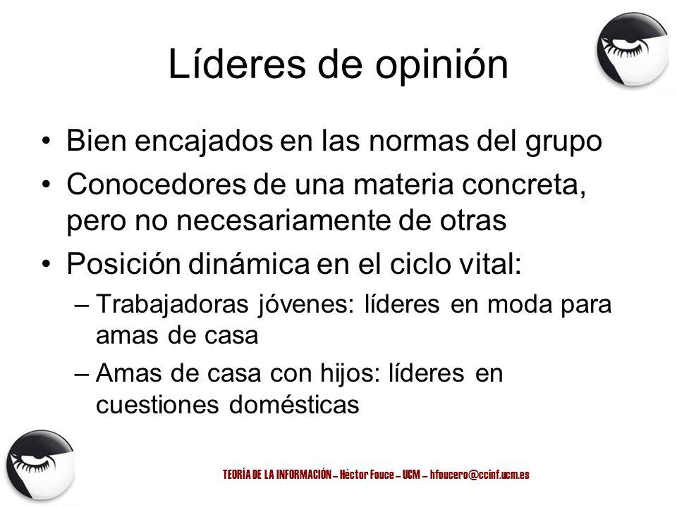 TEORÍA DE LA INFORMACIÓN – Héctor Fouce – UCM – hfoucero@ccinf.ucm.es Líderes de opinión Bien encajados en las normas del grupo Conocedores de una mat