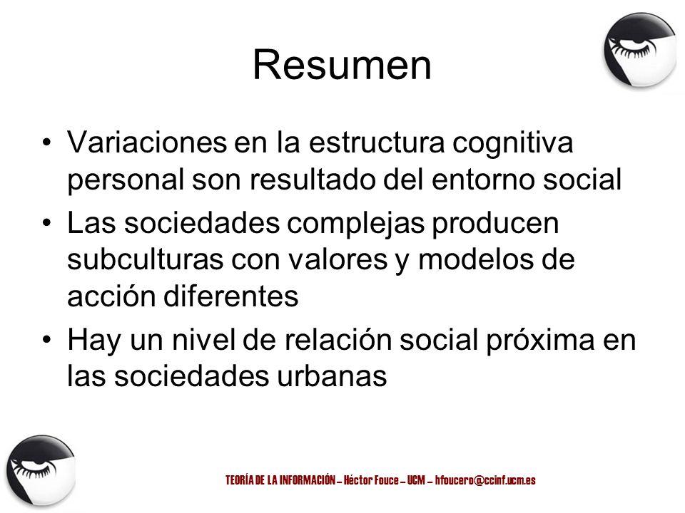 TEORÍA DE LA INFORMACIÓN – Héctor Fouce – UCM – hfoucero@ccinf.ucm.es Resumen Variaciones en la estructura cognitiva personal son resultado del entorn