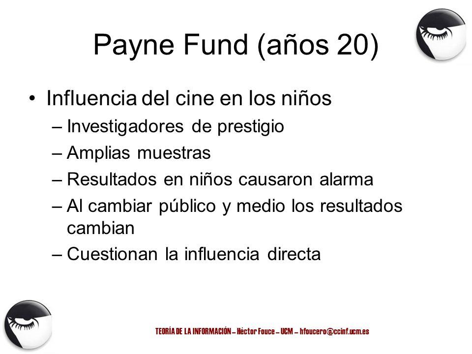 TEORÍA DE LA INFORMACIÓN – Héctor Fouce – UCM – hfoucero@ccinf.ucm.es Payne Fund (años 20) Influencia del cine en los niños –Investigadores de prestig