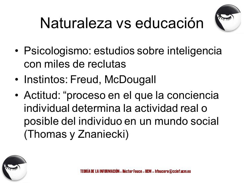 TEORÍA DE LA INFORMACIÓN – Héctor Fouce – UCM – hfoucero@ccinf.ucm.es Naturaleza vs educación Psicologismo: estudios sobre inteligencia con miles de r