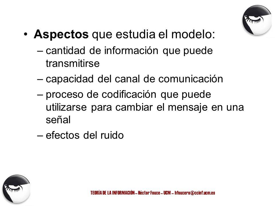 TEORÍA DE LA INFORMACIÓN – Héctor Fouce – UCM – hfoucero@ccinf.ucm.es Aspectos que estudia el modelo: –cantidad de información que puede transmitirse