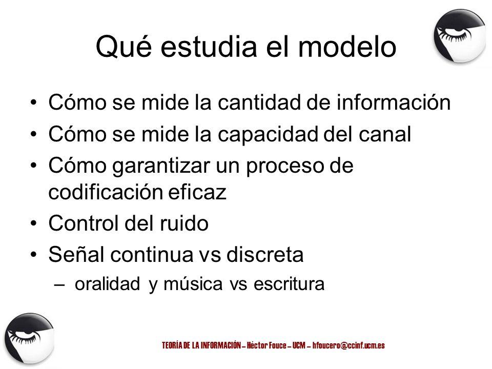 TEORÍA DE LA INFORMACIÓN – Héctor Fouce – UCM – hfoucero@ccinf.ucm.es Qué estudia el modelo Cómo se mide la cantidad de información Cómo se mide la ca