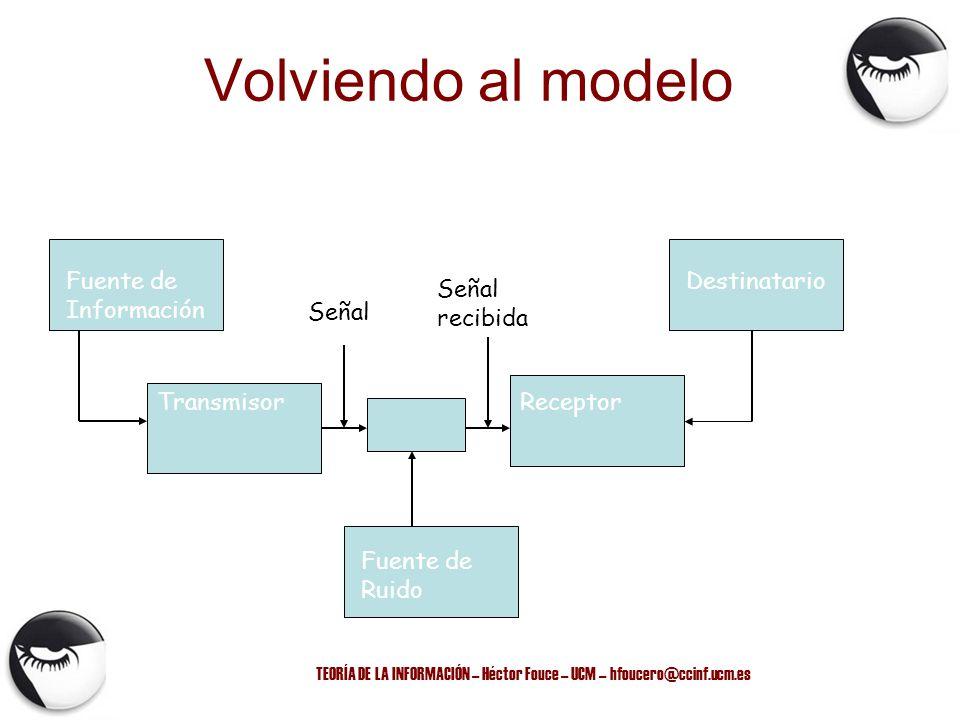 TEORÍA DE LA INFORMACIÓN – Héctor Fouce – UCM – hfoucero@ccinf.ucm.es Volviendo al modelo Fuente de Información Destinatario TransmisorReceptor Fuente