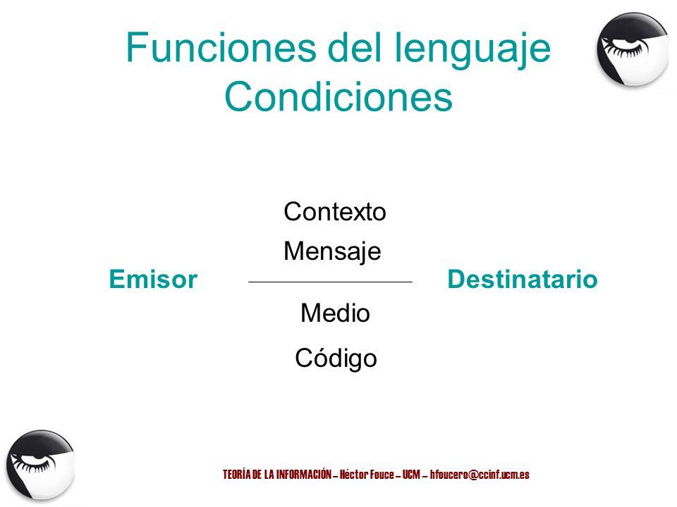 TEORÍA DE LA INFORMACIÓN – Héctor Fouce – UCM – hfoucero@ccinf.ucm.es Funciones del lenguaje Condiciones EmisorDestinatario Código Mensaje Contexto Me