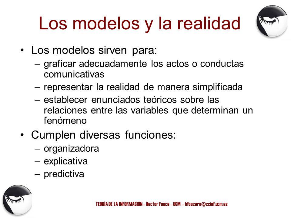 TEORÍA DE LA INFORMACIÓN – Héctor Fouce – UCM – hfoucero@ccinf.ucm.es Los modelos sirven para: –graficar adecuadamente los actos o conductas comunicat