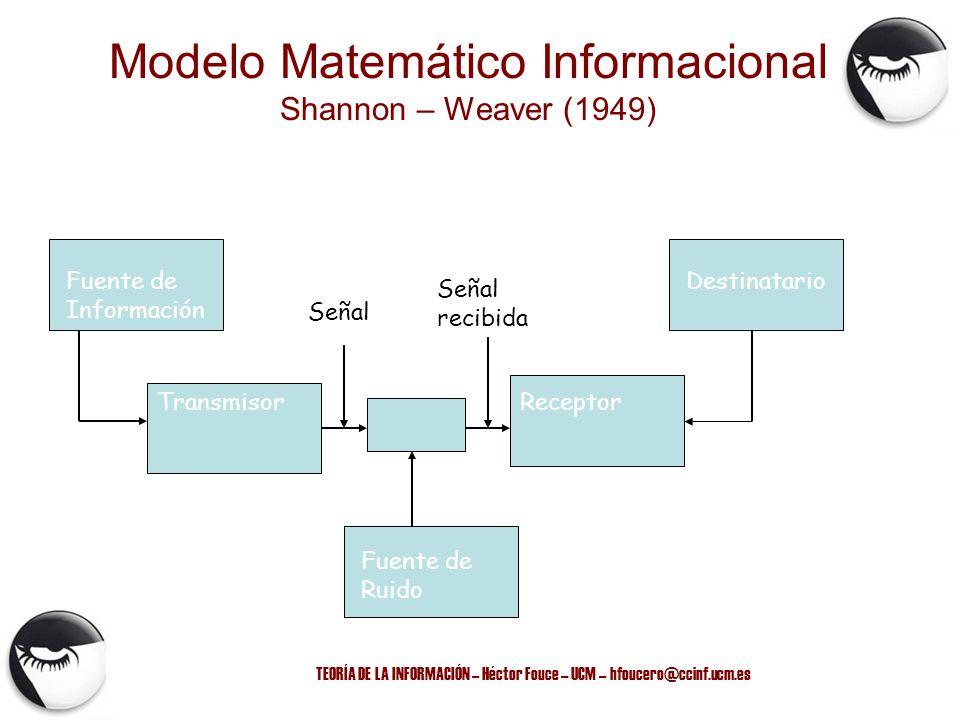 TEORÍA DE LA INFORMACIÓN – Héctor Fouce – UCM – hfoucero@ccinf.ucm.es Modelo Matemático Informacional Shannon – Weaver (1949) Fuente de Información De
