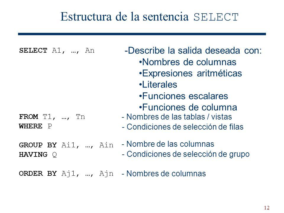 12 Estructura de la sentencia SELECT - Nombres de las tablas / vistas - Condiciones de selección de filas - Nombre de las columnas - Condiciones de se
