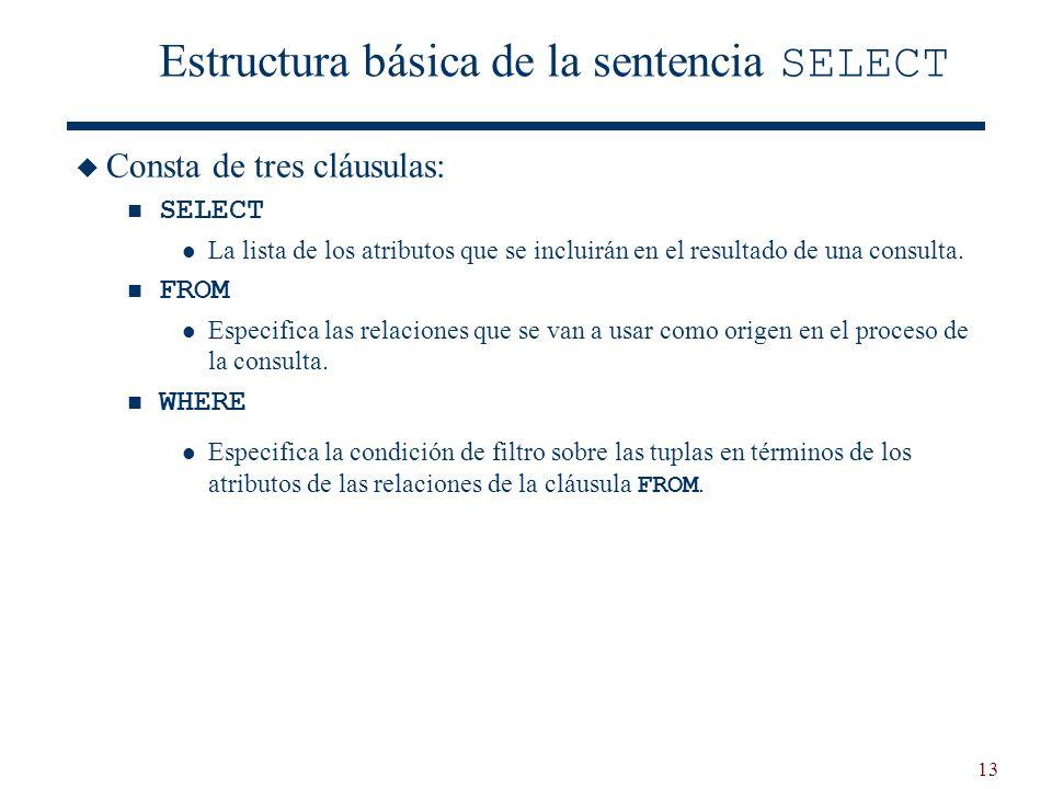 13 Estructura básica de la sentencia SELECT Consta de tres cláusulas: SELECT La lista de los atributos que se incluirán en el resultado de una consult