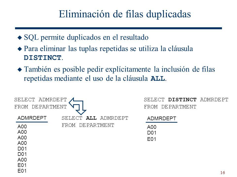 16 Eliminación de filas duplicadas SQL permite duplicados en el resultado Para eliminar las tuplas repetidas se utiliza la cláusula DISTINCT. También