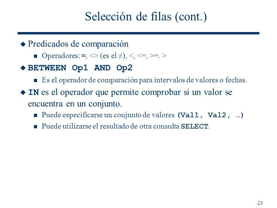 23 Selección de filas (cont.) Predicados de comparación Operadores: =, <> (es el ), =. > BETWEEN Op1 AND Op2 Es el operador de comparación para interv