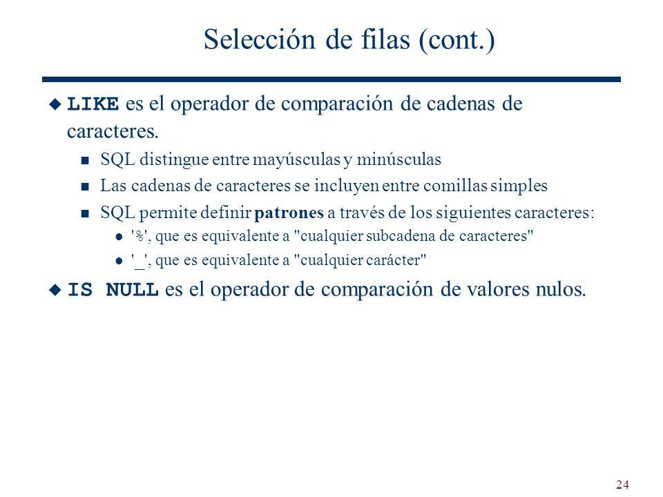 24 Selección de filas (cont.) LIKE es el operador de comparación de cadenas de caracteres. SQL distingue entre mayúsculas y minúsculas Las cadenas de