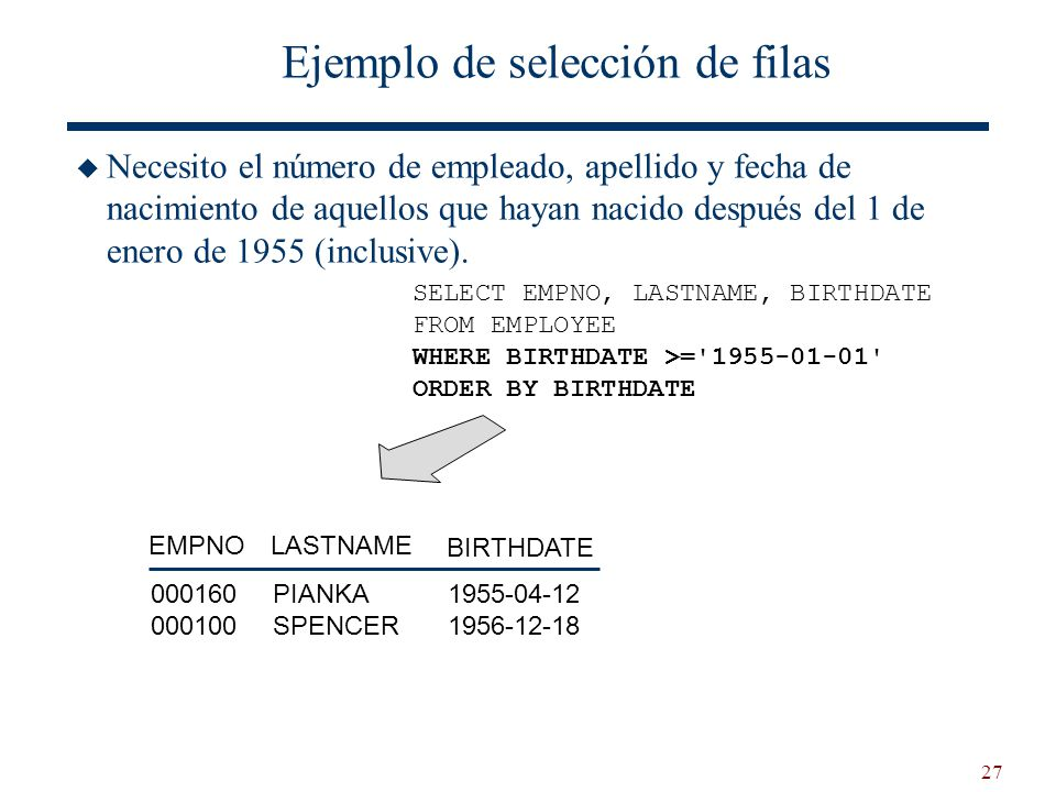 27 Ejemplo de selección de filas Necesito el número de empleado, apellido y fecha de nacimiento de aquellos que hayan nacido después del 1 de enero de