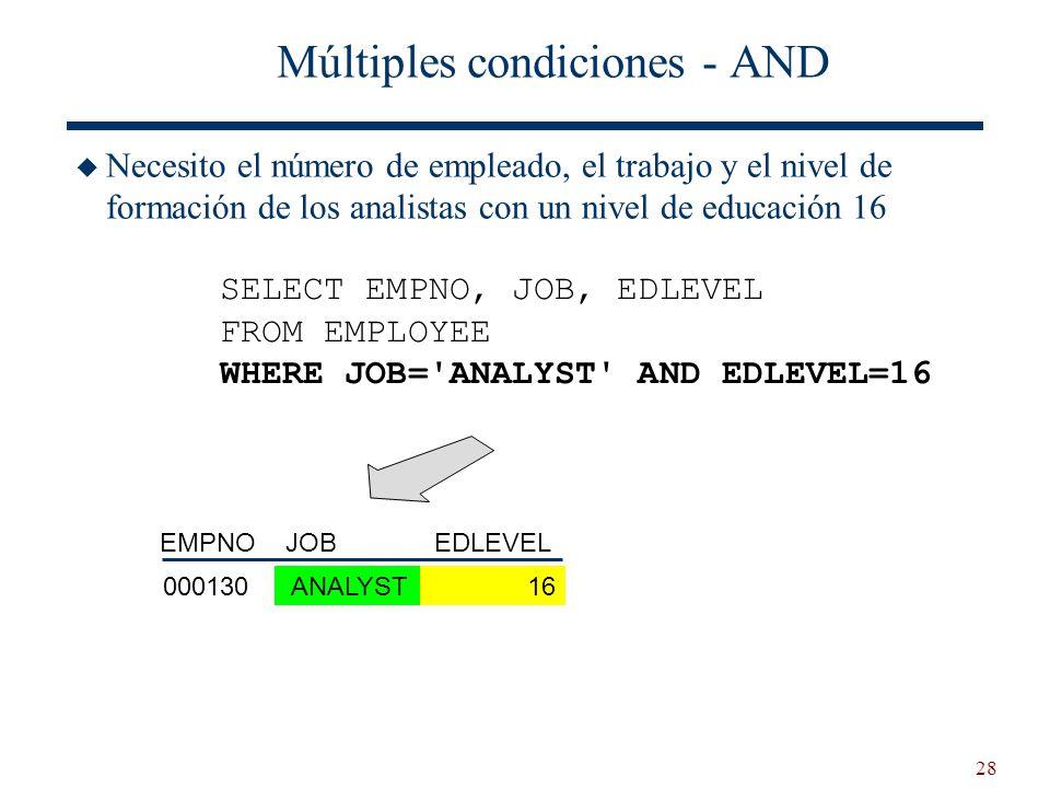 28 Múltiples condiciones - AND Necesito el número de empleado, el trabajo y el nivel de formación de los analistas con un nivel de educación 16 SELECT
