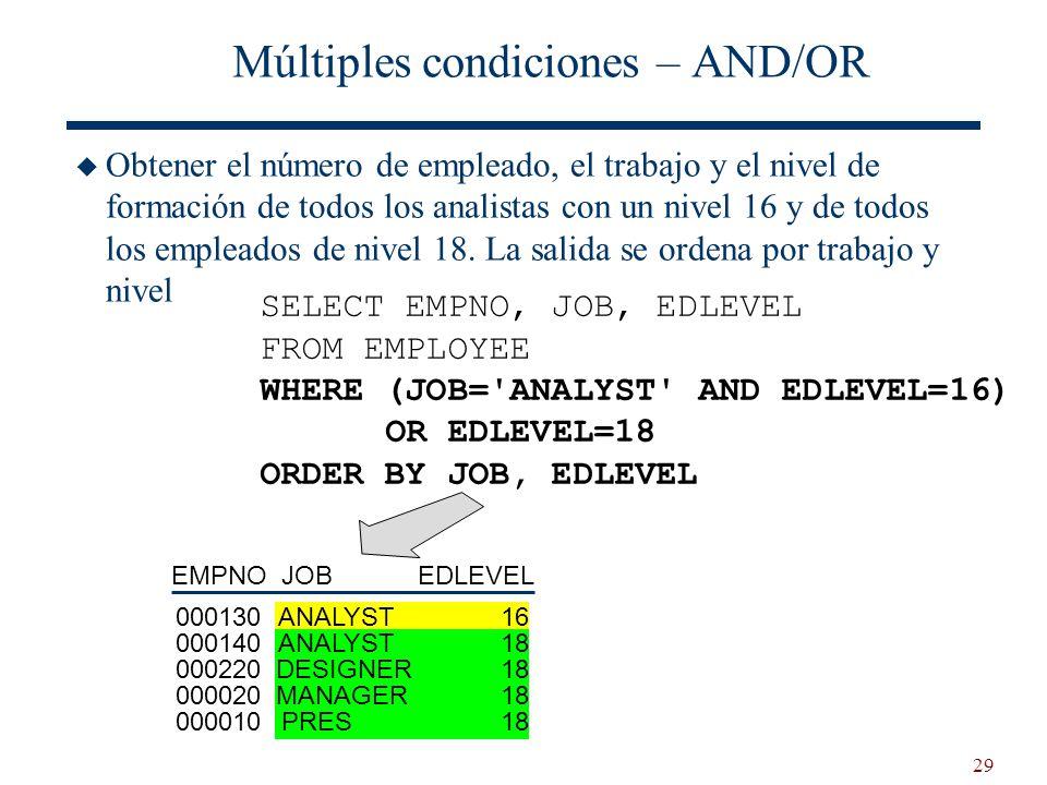 29 Múltiples condiciones – AND/OR Obtener el número de empleado, el trabajo y el nivel de formación de todos los analistas con un nivel 16 y de todos