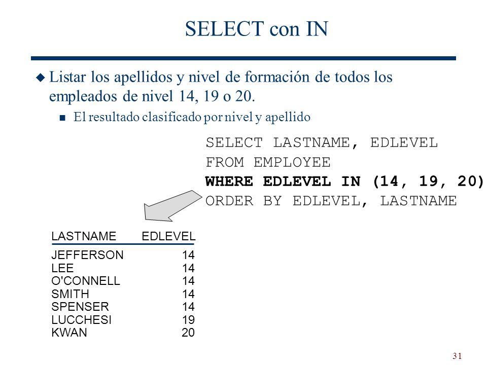 31 SELECT con IN Listar los apellidos y nivel de formación de todos los empleados de nivel 14, 19 o 20. El resultado clasificado por nivel y apellido