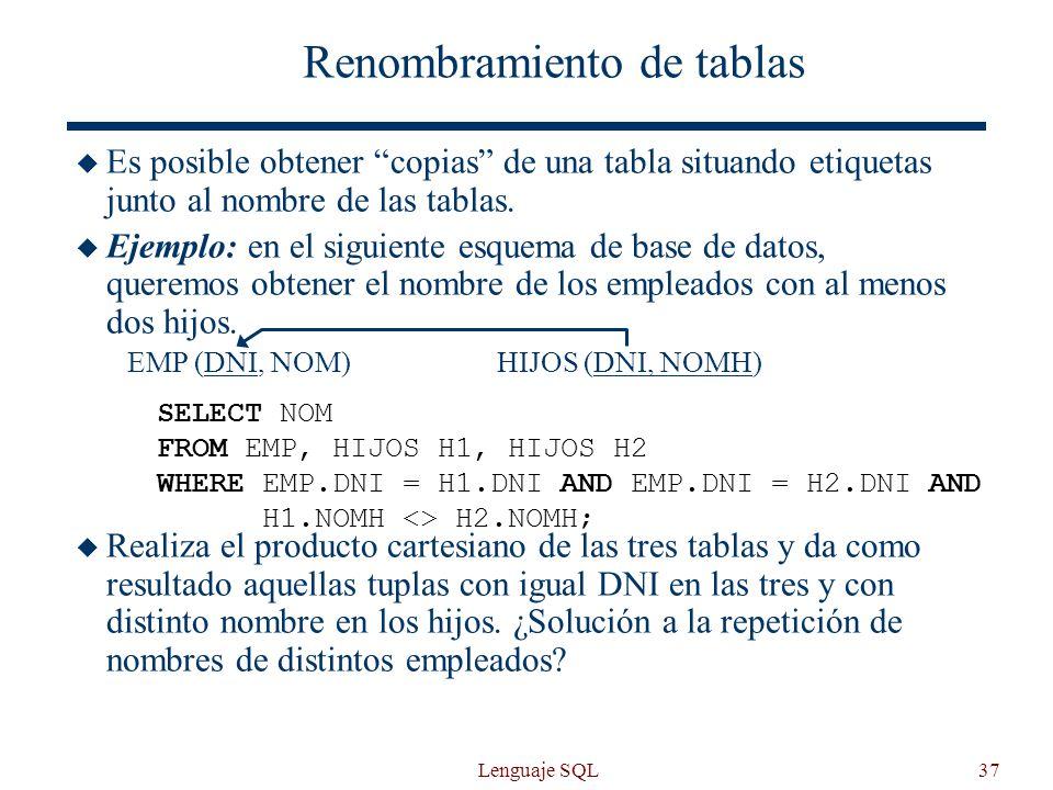 Lenguaje SQL37 Renombramiento de tablas Es posible obtener copias de una tabla situando etiquetas junto al nombre de las tablas. Ejemplo: en el siguie