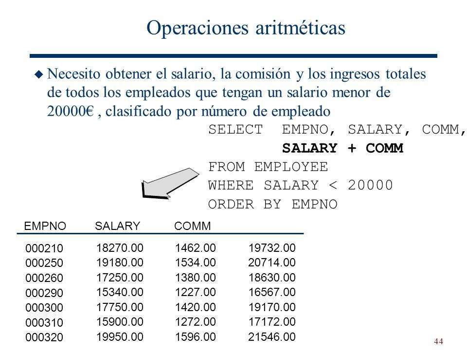 44 Operaciones aritméticas Necesito obtener el salario, la comisión y los ingresos totales de todos los empleados que tengan un salario menor de 20000
