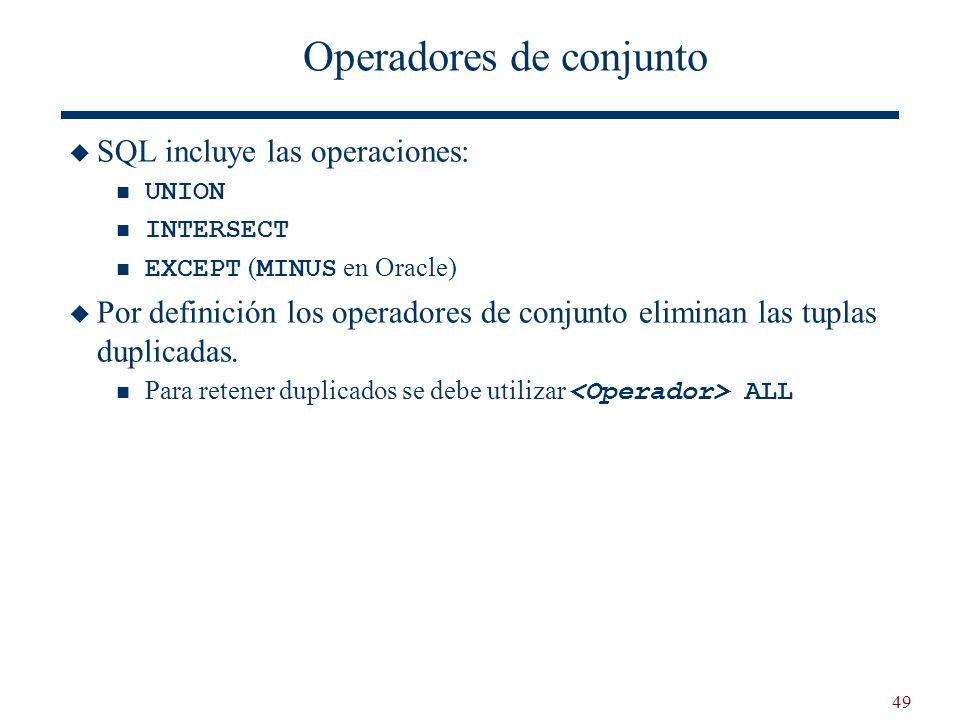 49 Operadores de conjunto SQL incluye las operaciones: UNION INTERSECT EXCEPT ( MINUS en Oracle) Por definición los operadores de conjunto eliminan la