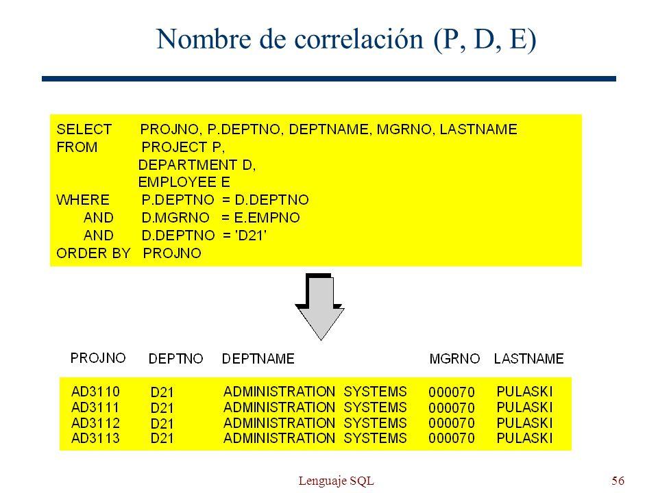 Lenguaje SQL56 Nombre de correlación (P, D, E)