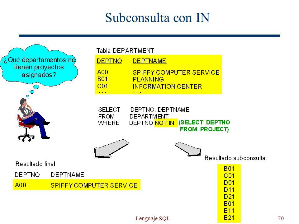 Lenguaje SQL70 Subconsulta con IN