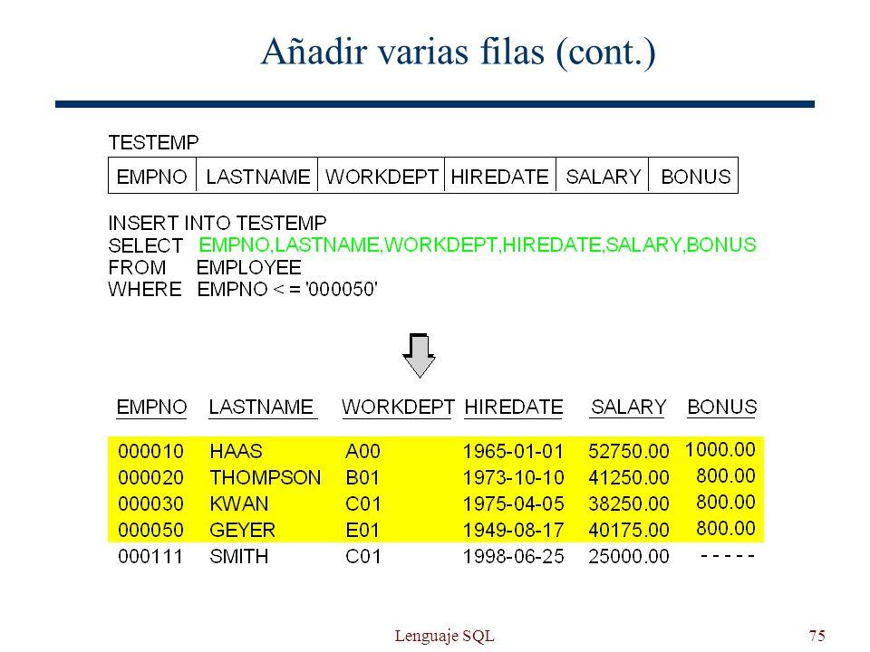 Lenguaje SQL75 Añadir varias filas (cont.)