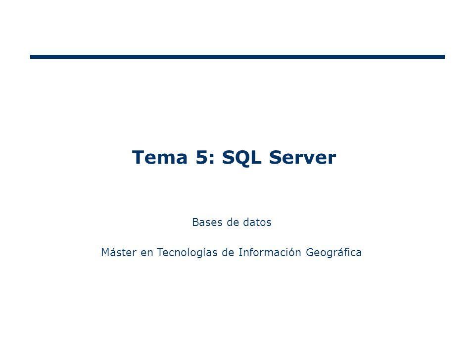 Tema 5: SQL Server Bases de datos Máster en Tecnologías de Información Geográfica