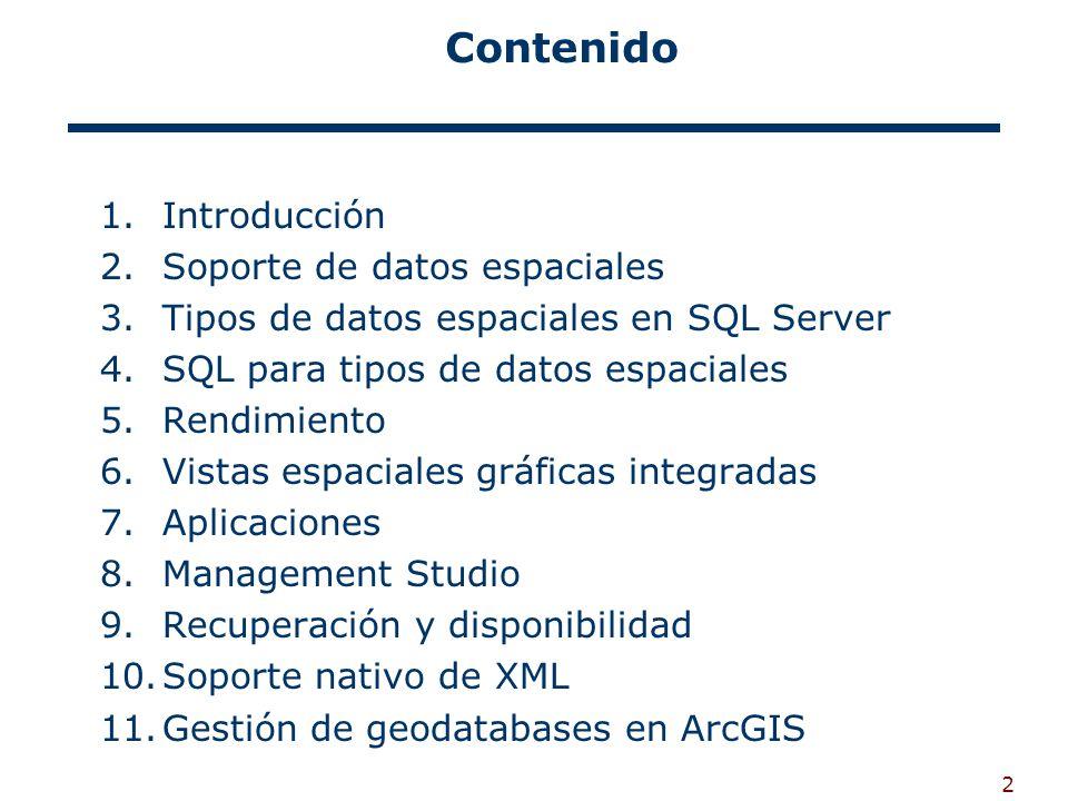 2 Contenido 1.Introducción 2.Soporte de datos espaciales 3.Tipos de datos espaciales en SQL Server 4.SQL para tipos de datos espaciales 5.Rendimiento