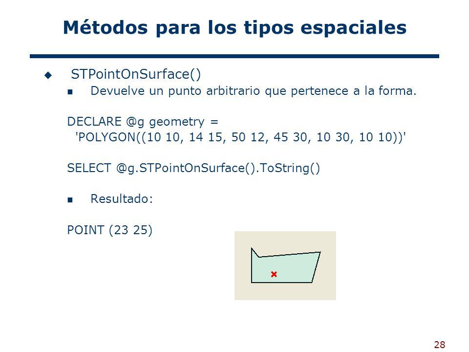 28 Métodos para los tipos espaciales STPointOnSurface() Devuelve un punto arbitrario que pertenece a la forma. DECLARE @g geometry = 'POLYGON((10 10,