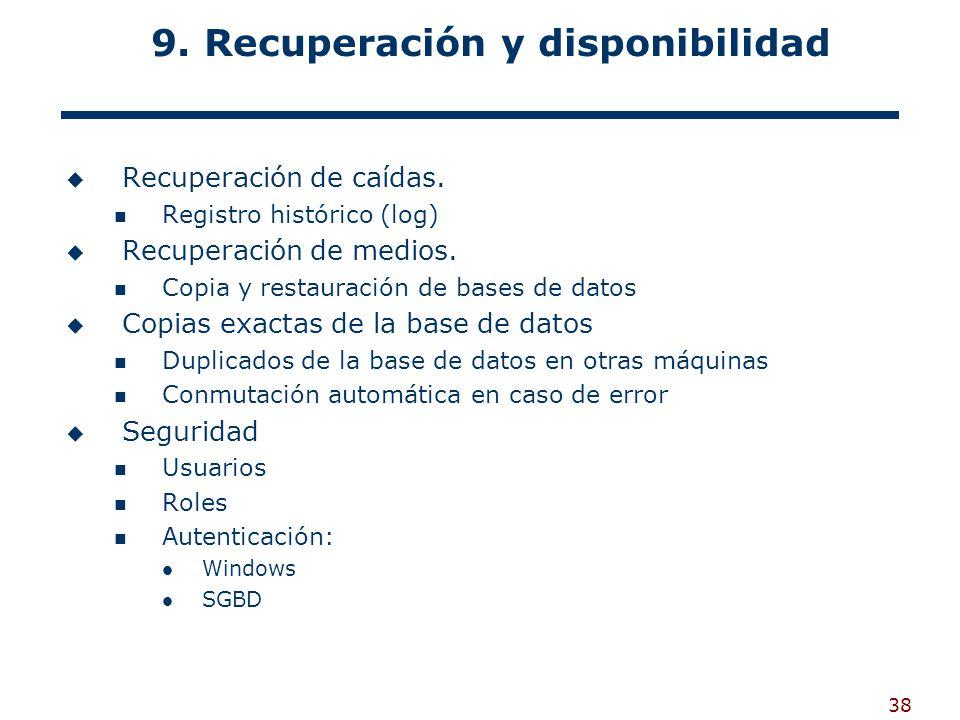 38 9. Recuperación y disponibilidad Recuperación de caídas. Registro histórico (log) Recuperación de medios. Copia y restauración de bases de datos Co