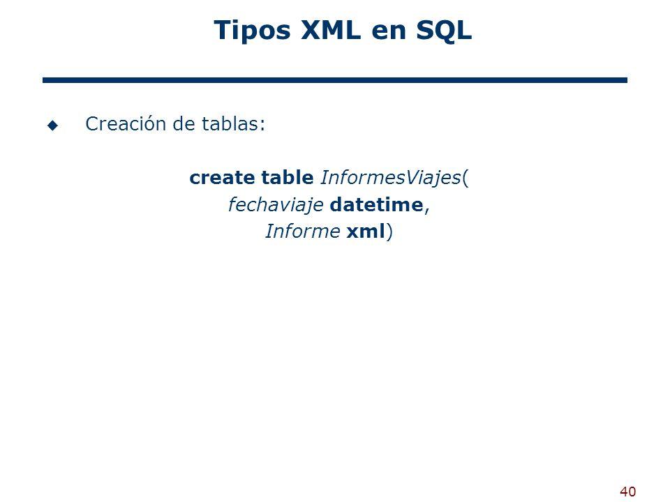 40 Tipos XML en SQL Creación de tablas: create table InformesViajes( fechaviaje datetime, Informe xml)