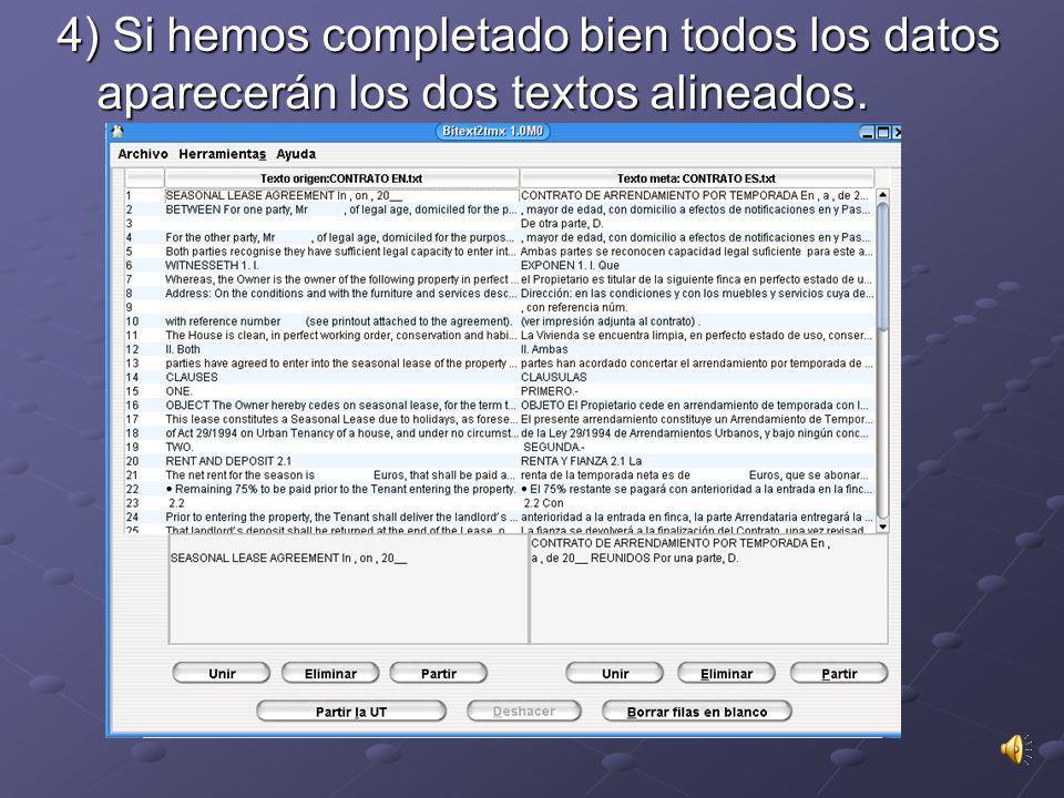 3) Pulsamos sobre Examinar y buscamos la ubicación de nuestro texto de origen. Después elegimos la lengua Inglés y lo mismo con el texto en Español. >