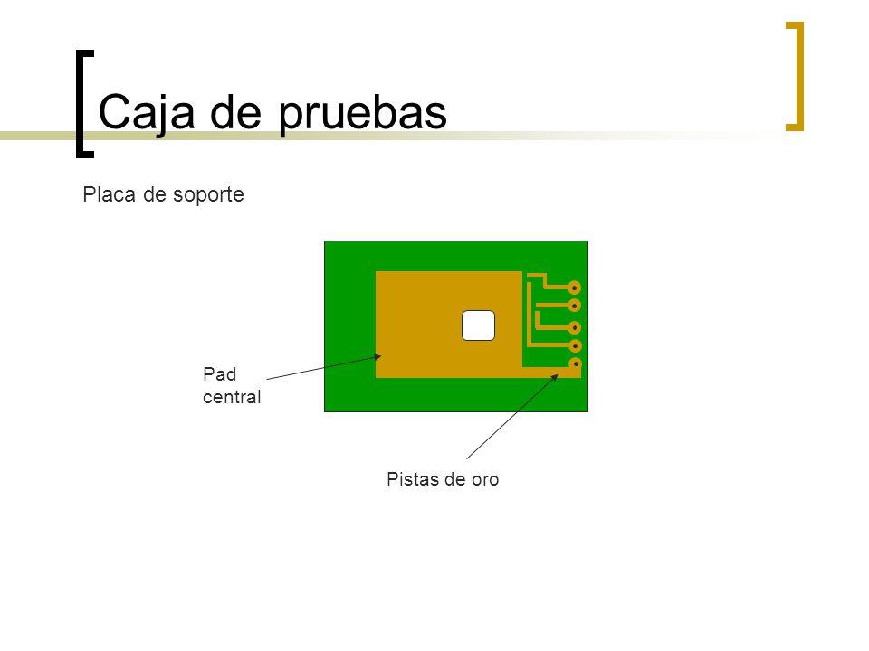 Caja de pruebas Placa de soporte Pistas de oro Pad central